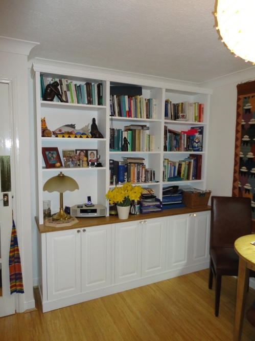 Painted and Natural Oak Bookcase and Cupboards